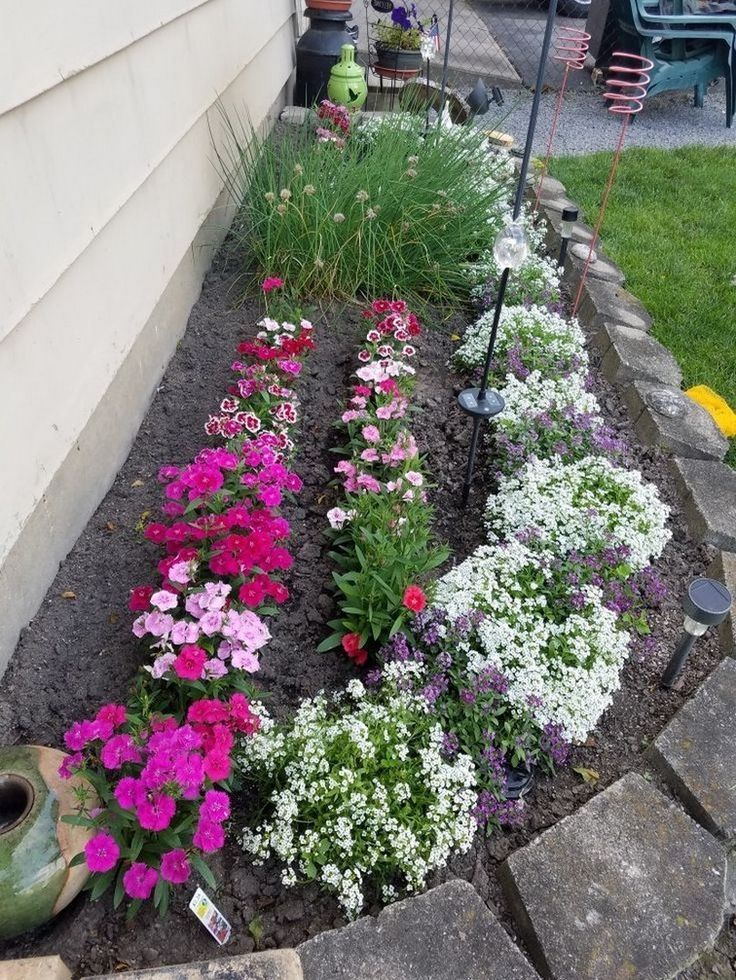 53 beautiful flower beds in front of house design ideas 39