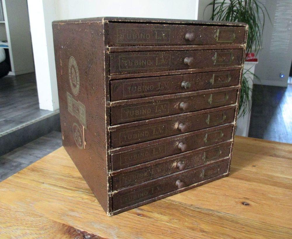 Ancienne boite couture meuble de mercerie 8 tiroirs présentoir CB ...