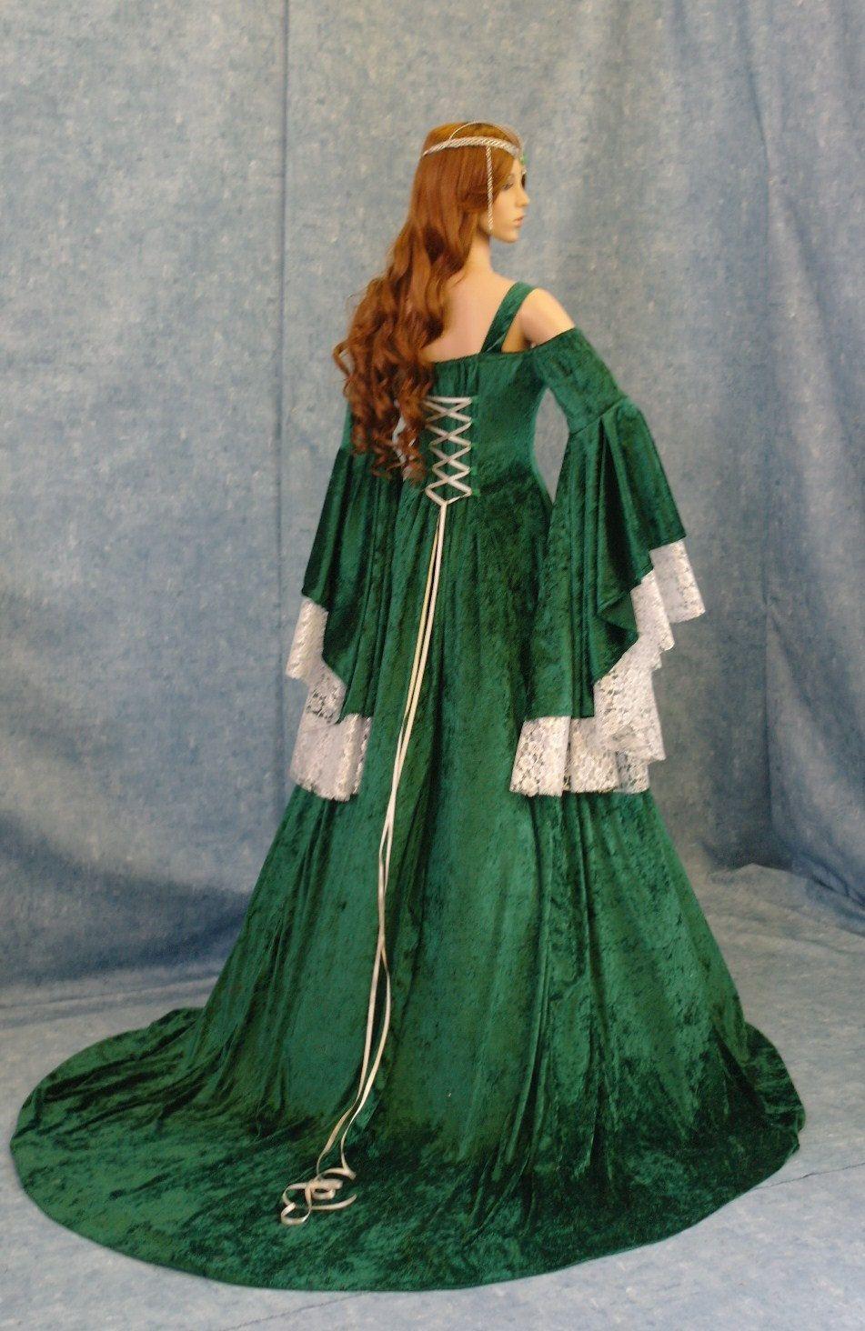 elvish wedding dress Renaissance medieval handfasting wedding fantasy celtic dress custom made 00 via Etsy
