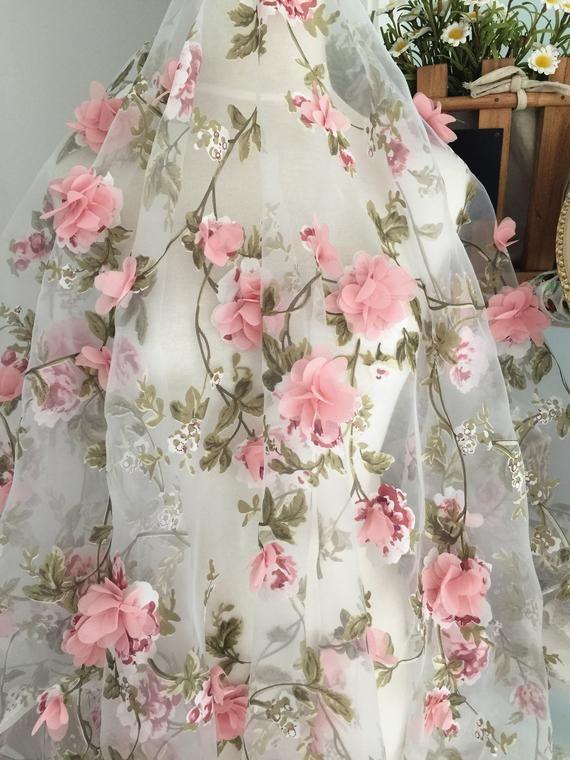 fabric lace floral blossom oganza organza dusty ivory printing leaf