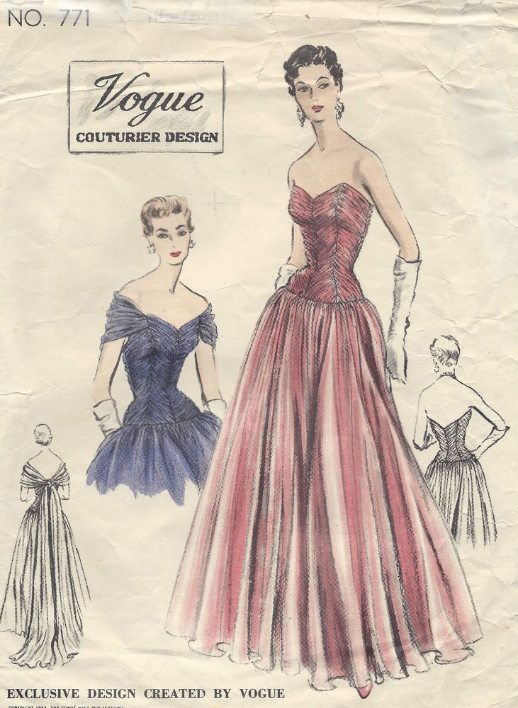 1953 Vintage VOGUE Sewing Pattern B32 EVENING DRESS/GOWN (E1306 ...