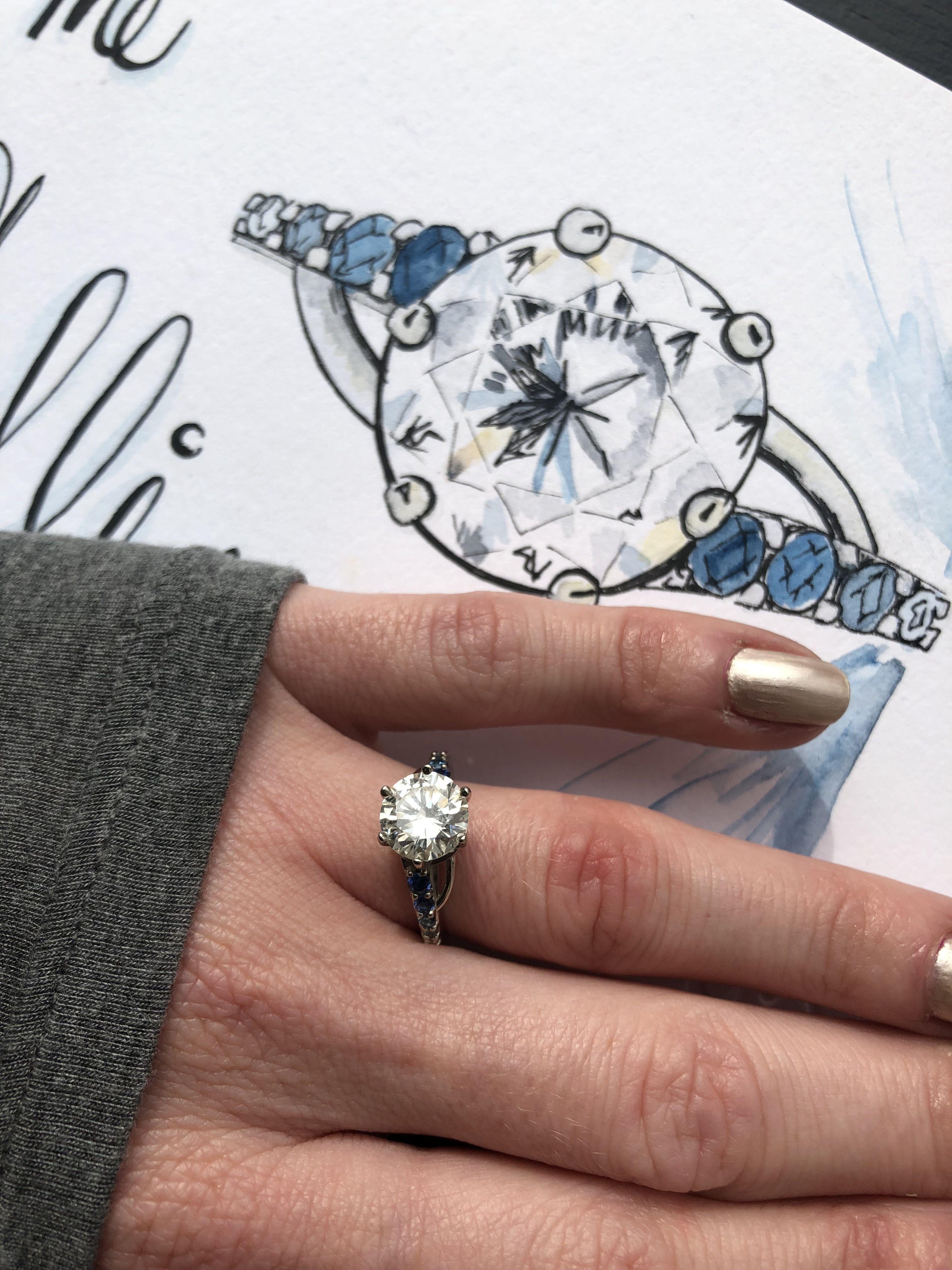 2 Carat Diamond Ombre Sapphire Ring Custom Engagement Ring Two Carat Diamond Round Diamond Engagement Rings