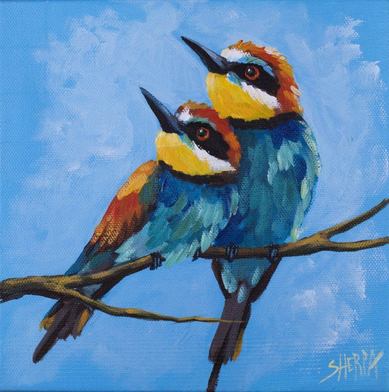 A Pair Of Birds Easy Daily Painting Step By Step Acrylic Tutorials Day #13 acrylicapril2020 | The Art Sherpa