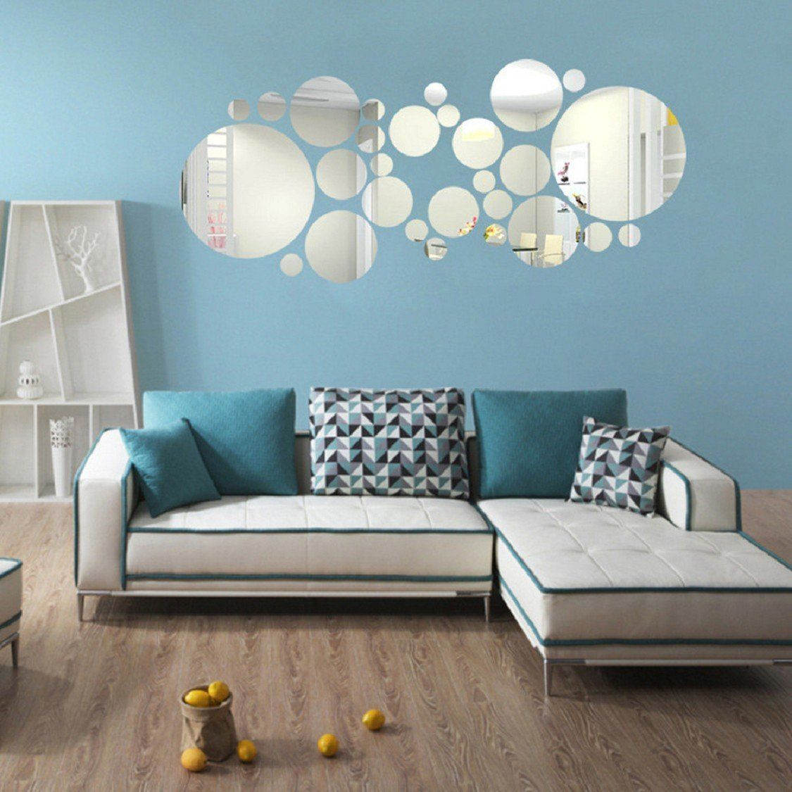 Ikevan set pcs acrylic art modern d mirror round wall stickers