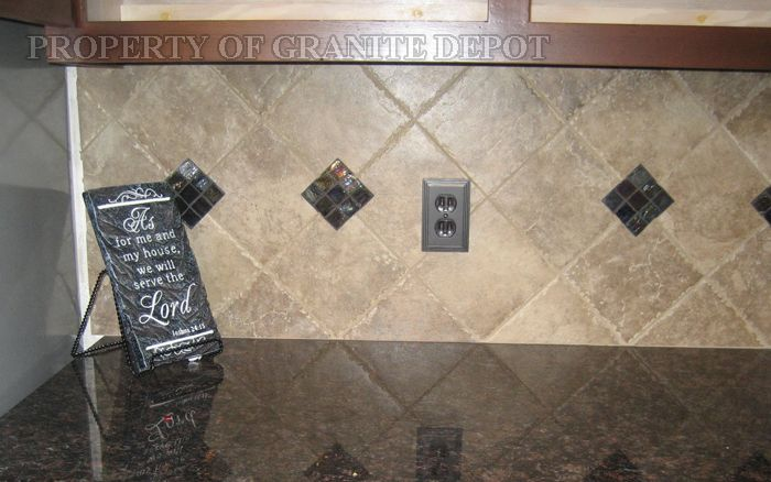 What color tile back splashes go with brown carmel granite Tan kitchen backsplash