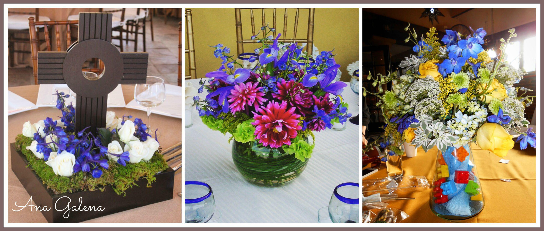 Centros De Mesa Azul Con Flores Centros De Mesa Pinterest  ~ Centros De Flores Naturales Para Mesas