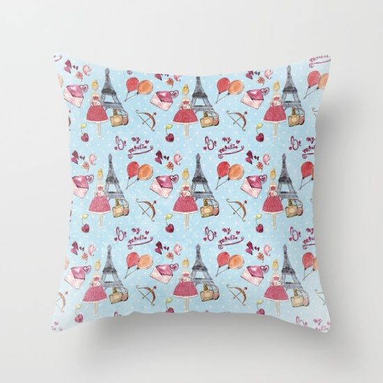 Love And Valentine In Paris France  Elegance Shopping Girly In Pink On Blue  Polkadots Throw