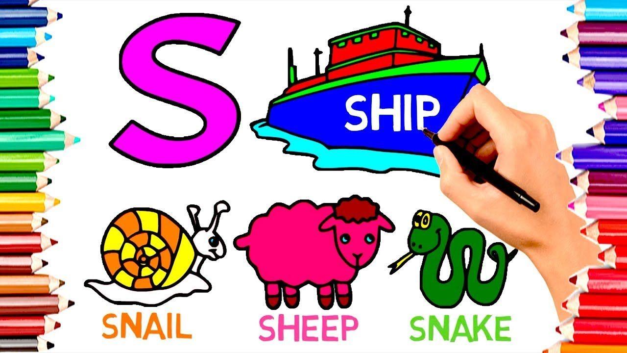 Teach Children Draw Alphabet S For Ship Coloring Book