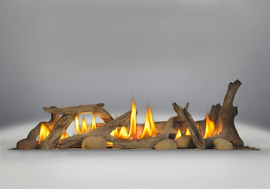 outdoor gas fireplace logs. Driftwood Media Kit  Logs and Six River Rocks Included for Gas Fireplaces