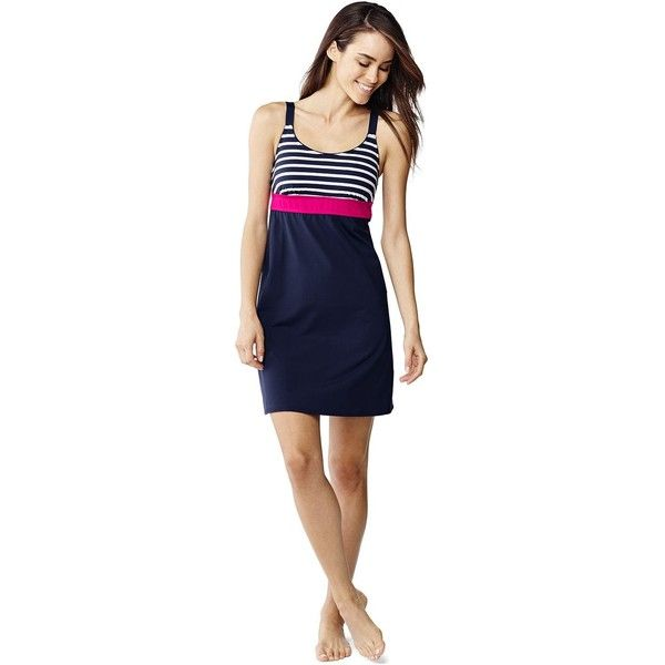 a98d5425c8 Lands' End Women's Petite Swim Cover-up Scoopneck Dress ($79) ❤ liked on  Polyvore featuring swimwear, cover-ups, blue, beach cover up, lands end  cover ups, ...