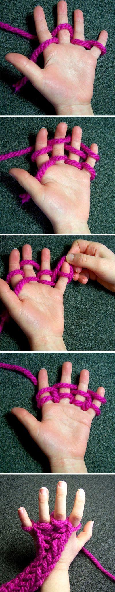 Tejido con los dedos para las nenas! --- Finger Knitting