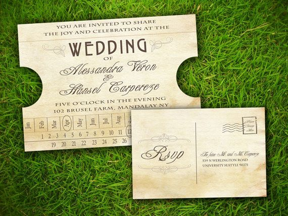 Vintage Rustic Train Ticket Customizable Wedding Invitation And RSVP - Wedding invitation templates: wedding invitation ticket template