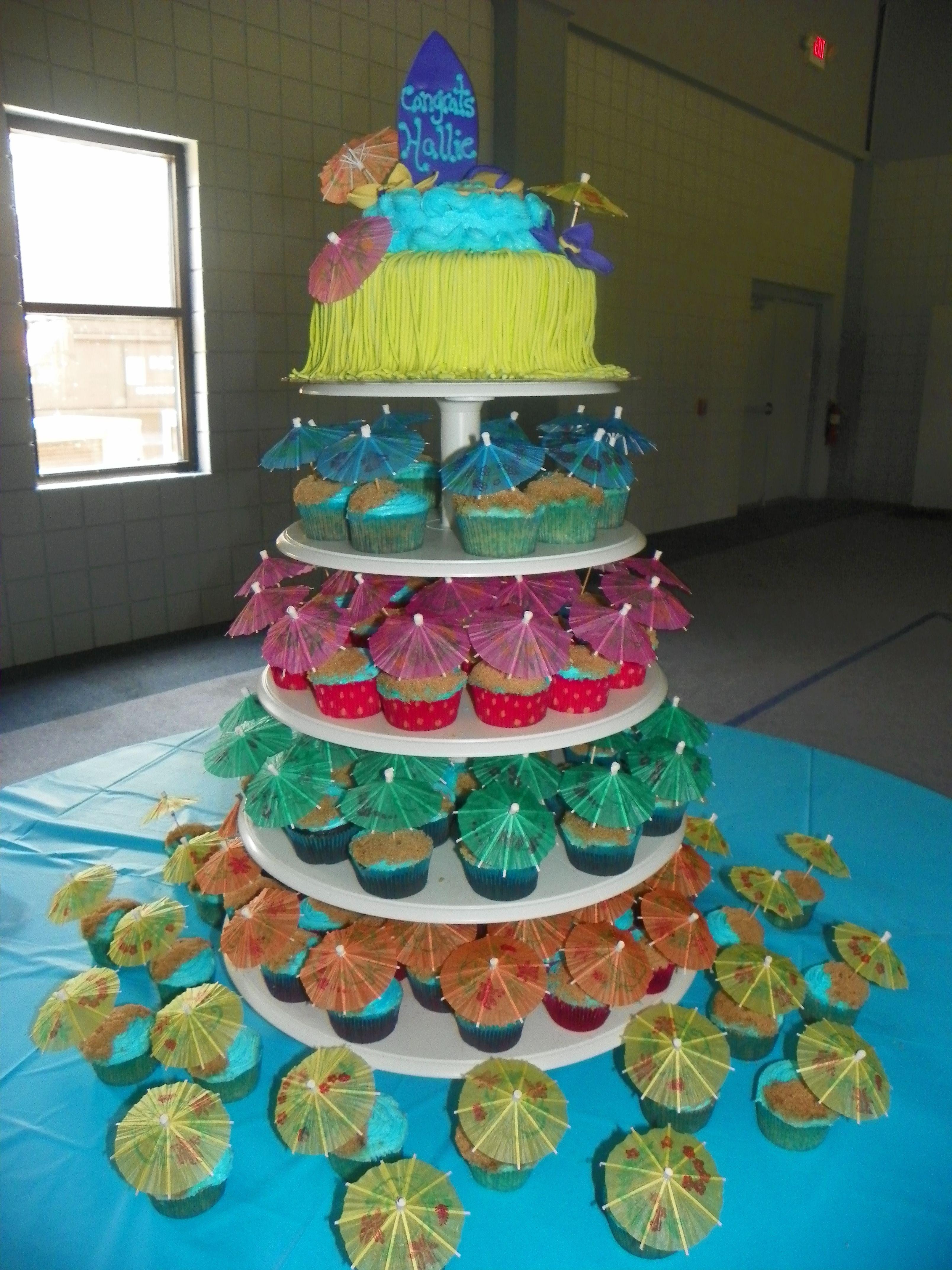 Luau Cake Cup Cakes Blue Frosting Brown Sugar Sand Umbrella