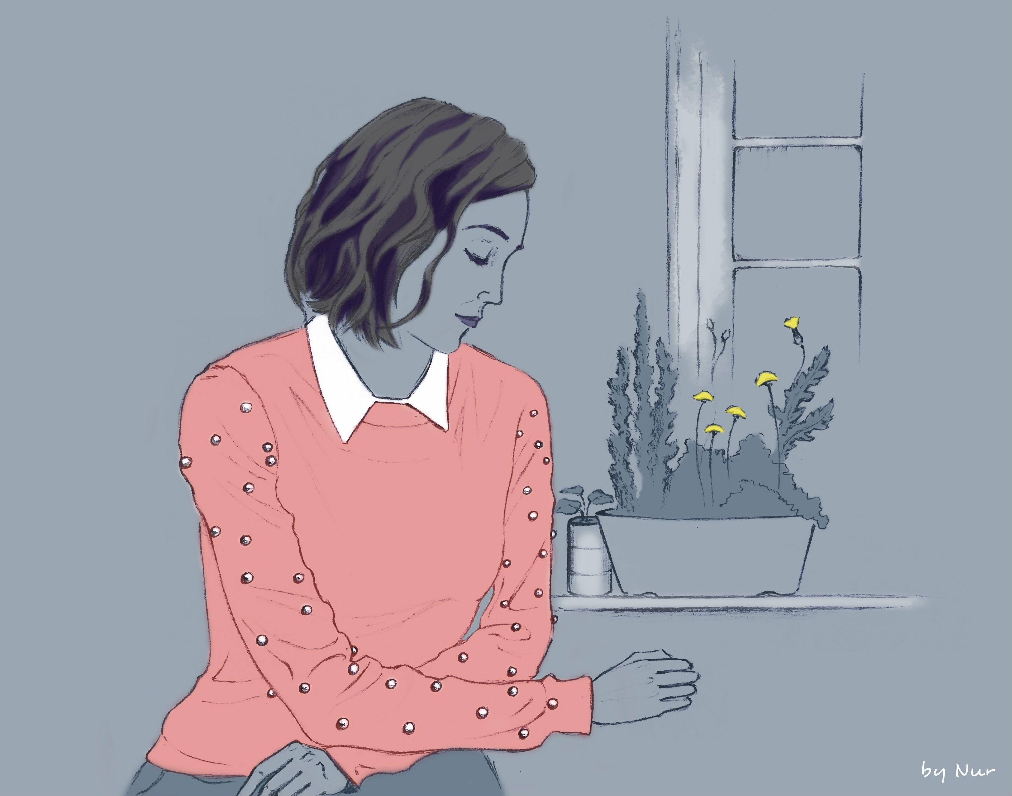 Evening blues, by Nur #illustration #art #sad