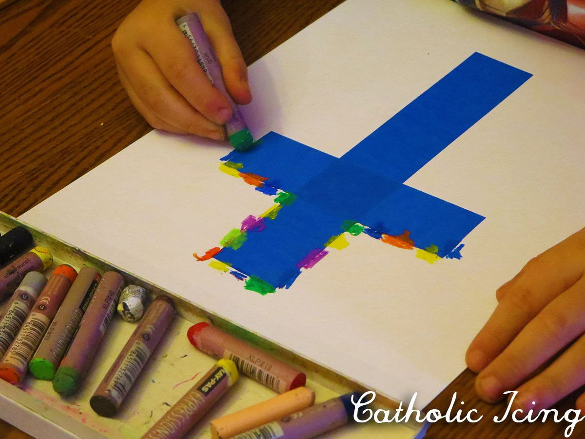 Easter Cross Art Project For Kids Oil Pastel Smudge