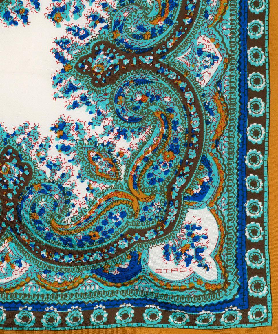 Turquoise Floral Paisley Print Silk Pocket Square, Etro. Shop the ...