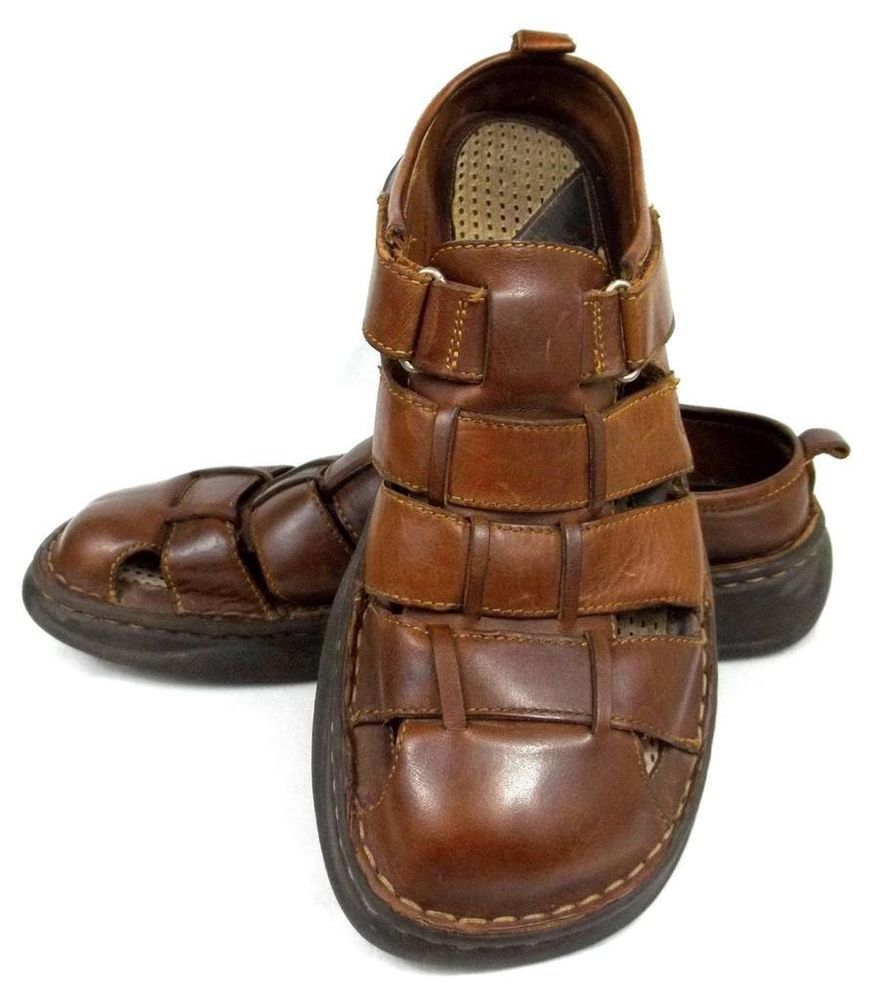 Born brown leather comfort slip on fisherman sandals shoes for Mens fishing sandals