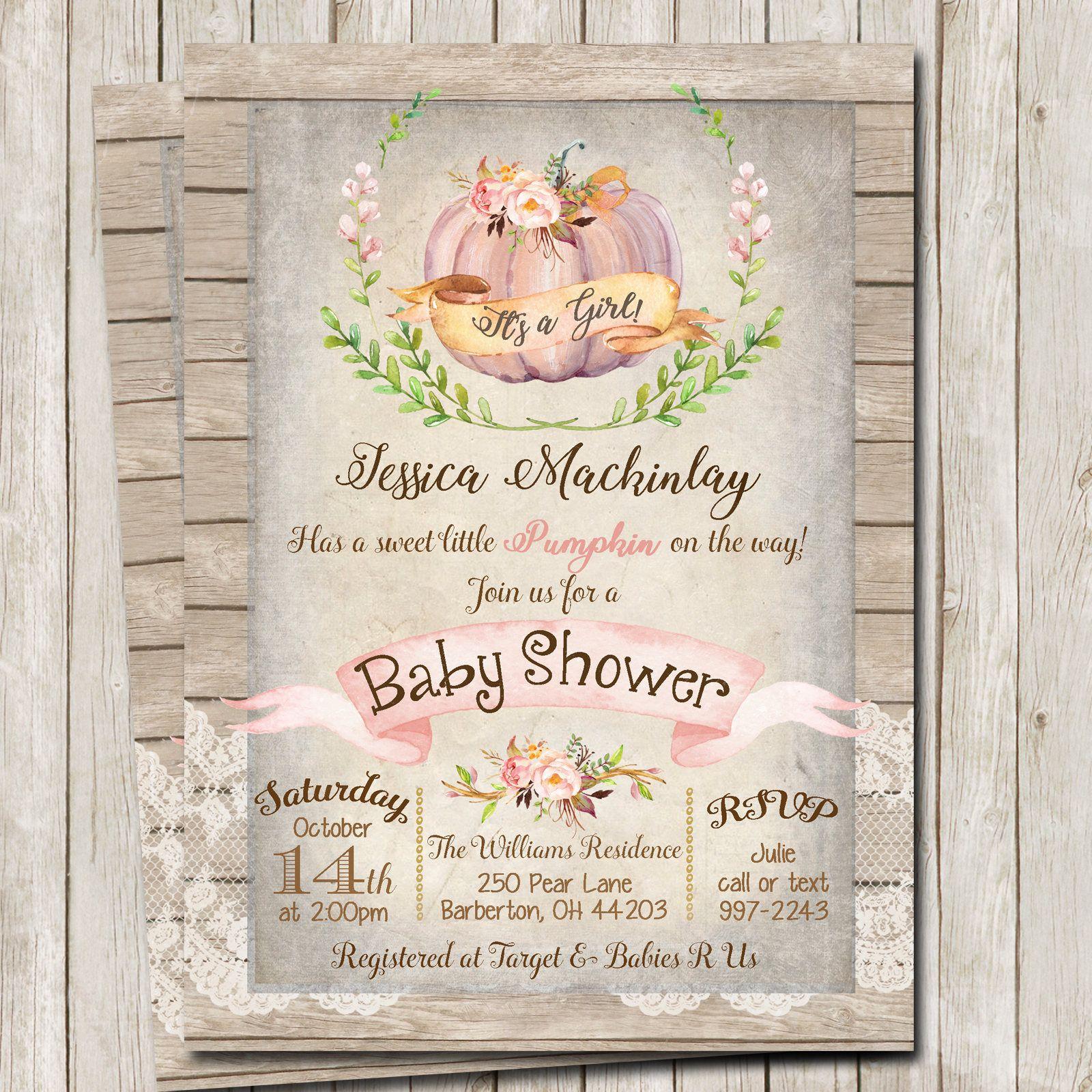 Girl Pumpkin Baby Shower Invitation, Rustic Baby Shower Invitation ...