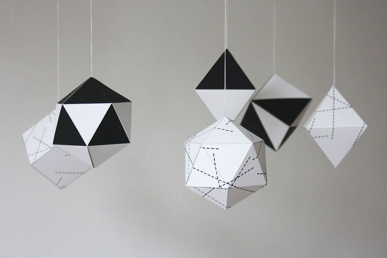 Diy Paper Christmas Ornaments Geometric Black And White Set
