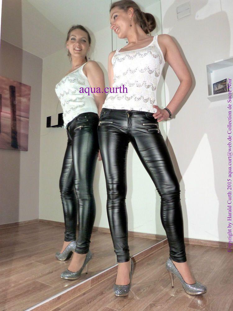 h069 leder jeans optik skinny hose schwarz glanz l xl deko. Black Bedroom Furniture Sets. Home Design Ideas
