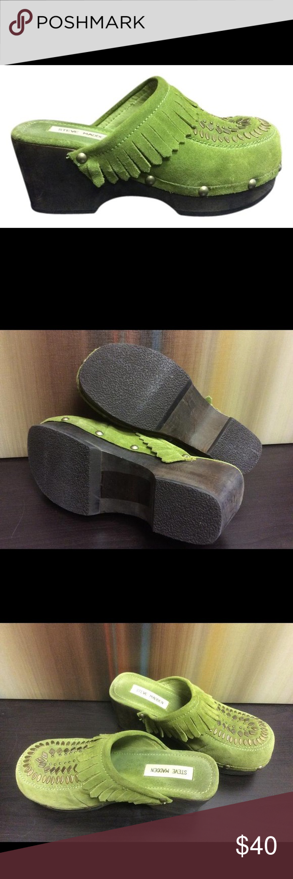 Steve Madden Women's Clog Shoes Steve Madden Women's Clog Shoes  **Condition: Like New  Dayze 7B Leather Upper Man made balance   Type:Mules & Clogs Size:7 Width:Regular (M, B) Heel Height:Medium 2-3 Brand:Steve Madden Color:Green Style/Collection:Dayze Style Tags:Leather Man Made Steve Madden Mules & Clogs Steve Madden Shoes Mules & Clogs
