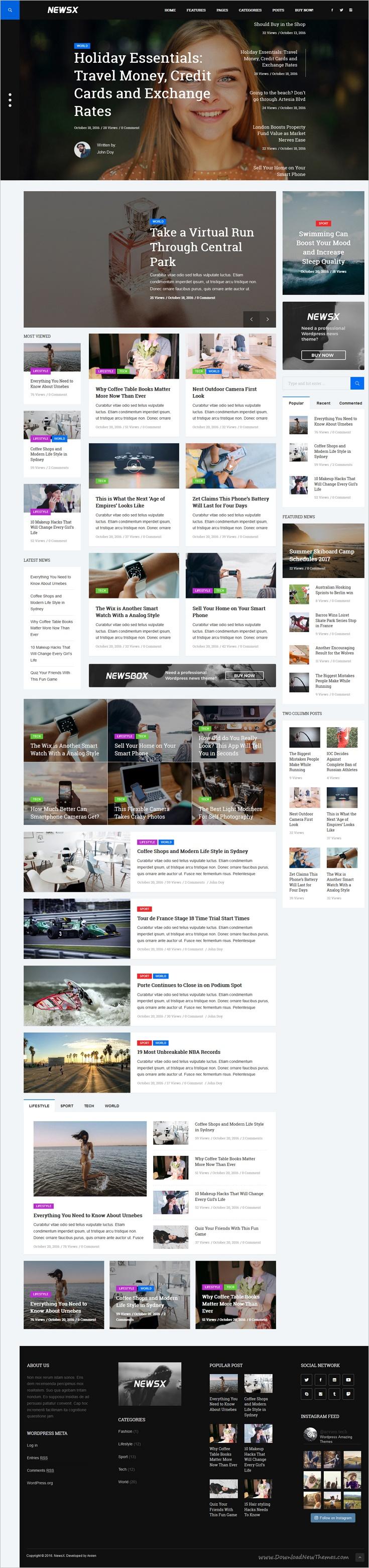 NewsX - Powerful Blog and Magazine WordPress theme   Magazine ...