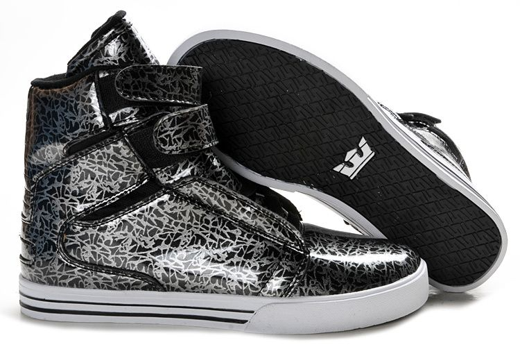 c08e01f0f78 Black grey scribble Supra Shoes Men