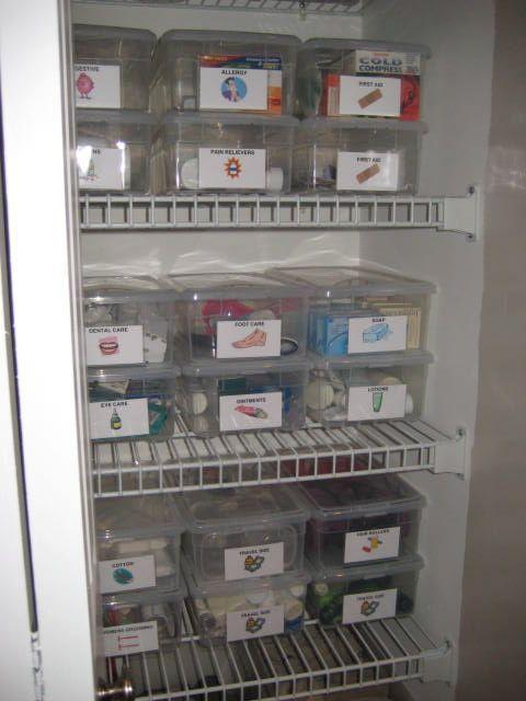 Ranger Son Armoire A Pharmacie Bee Organisee Medicine Organization Medicine Cabinet Organization Organizing Linens