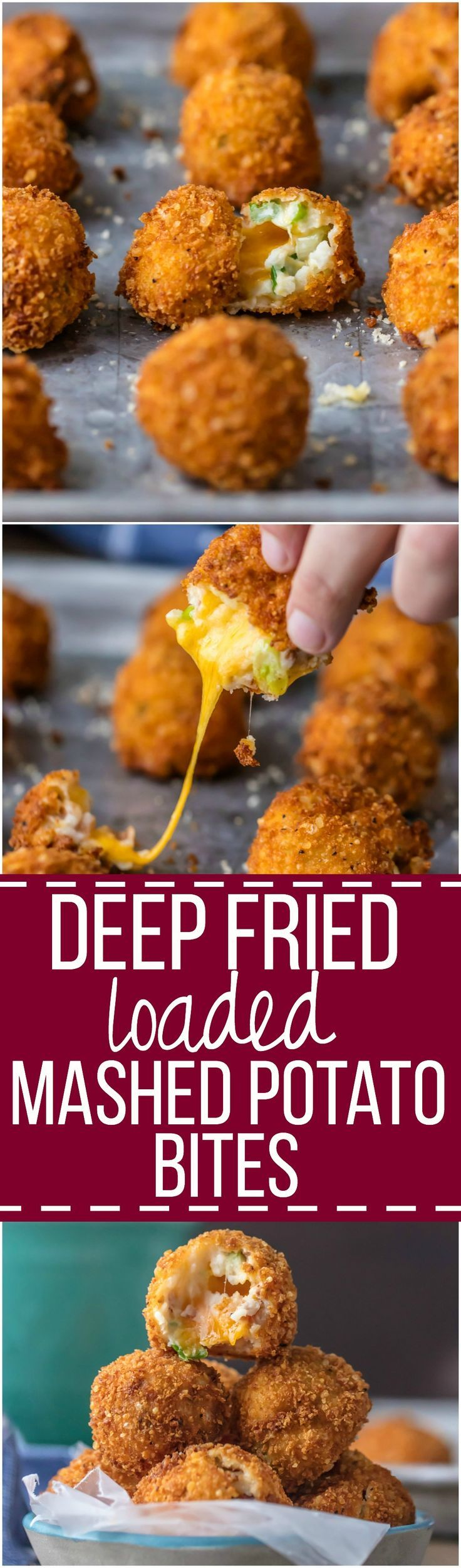 DEEP FRIED LOADED MASHED POTATO BITES loaded with bacon, cheese, and onions are perfect for Thanksgiving leftovers! Put those leftover mashed potatoes to good use and fry them! The ultimate appetizer or side dish! /bordencheese/ #spon