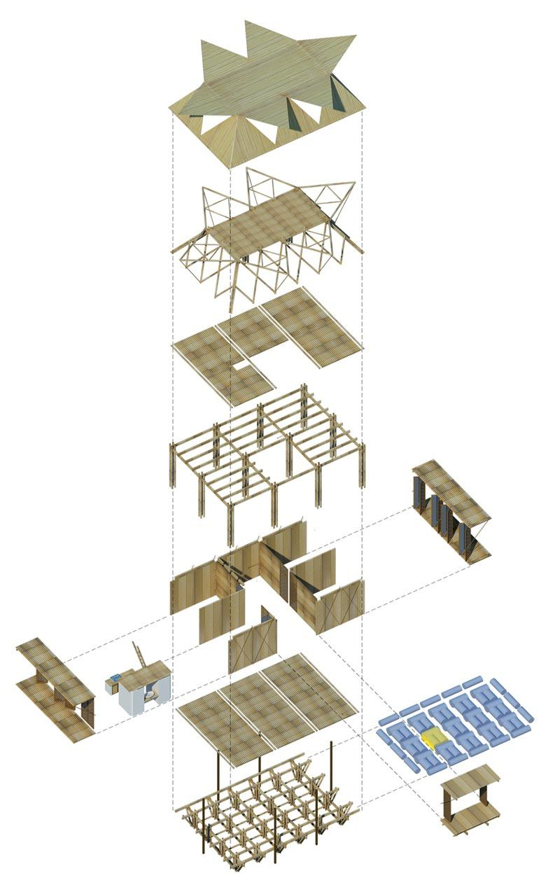 Floating bamboo low cost houses by h p architects for Design casa low cost