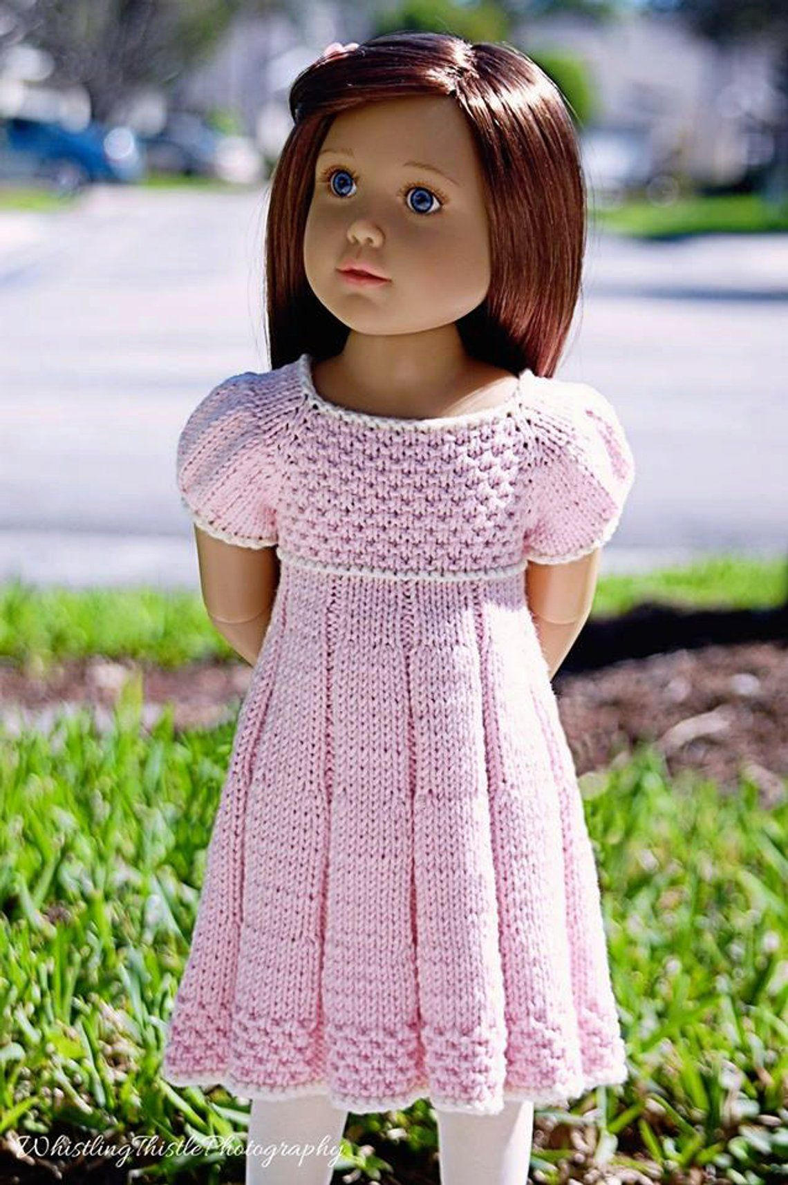 PLEATED SUMMER slim 18 inch doll Kidz n Cats DRESS Knitting pattern (# 042slim)