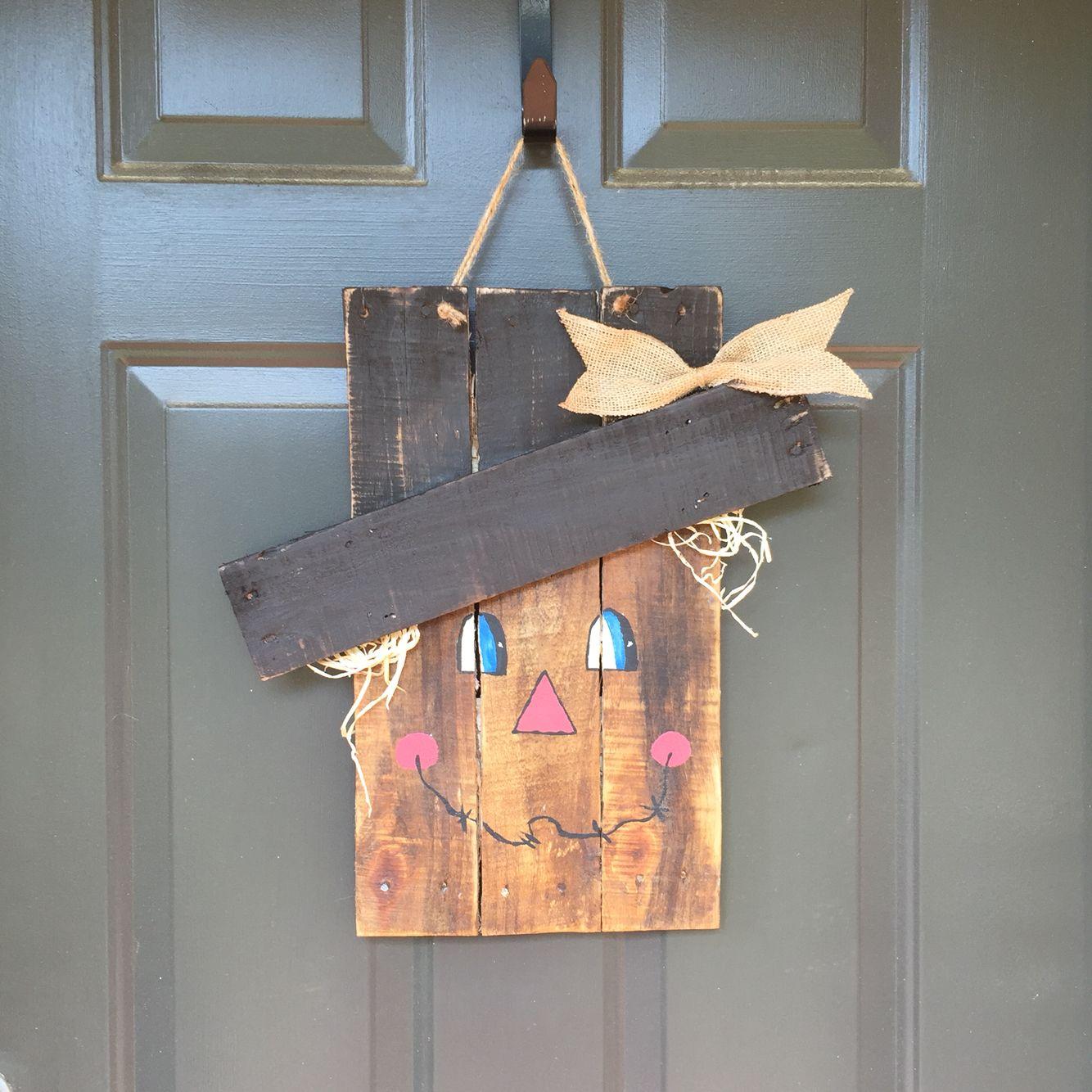 Scarecrow Fall Door Hanger Pallet Wood