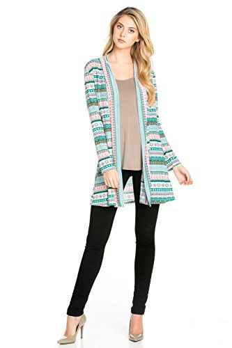 d3c9561b61 Frumos Womens Sweater Open Front Long Sleeve Printed Cardigan Jade Tangerin  Large at Amazon Women s Clothing store