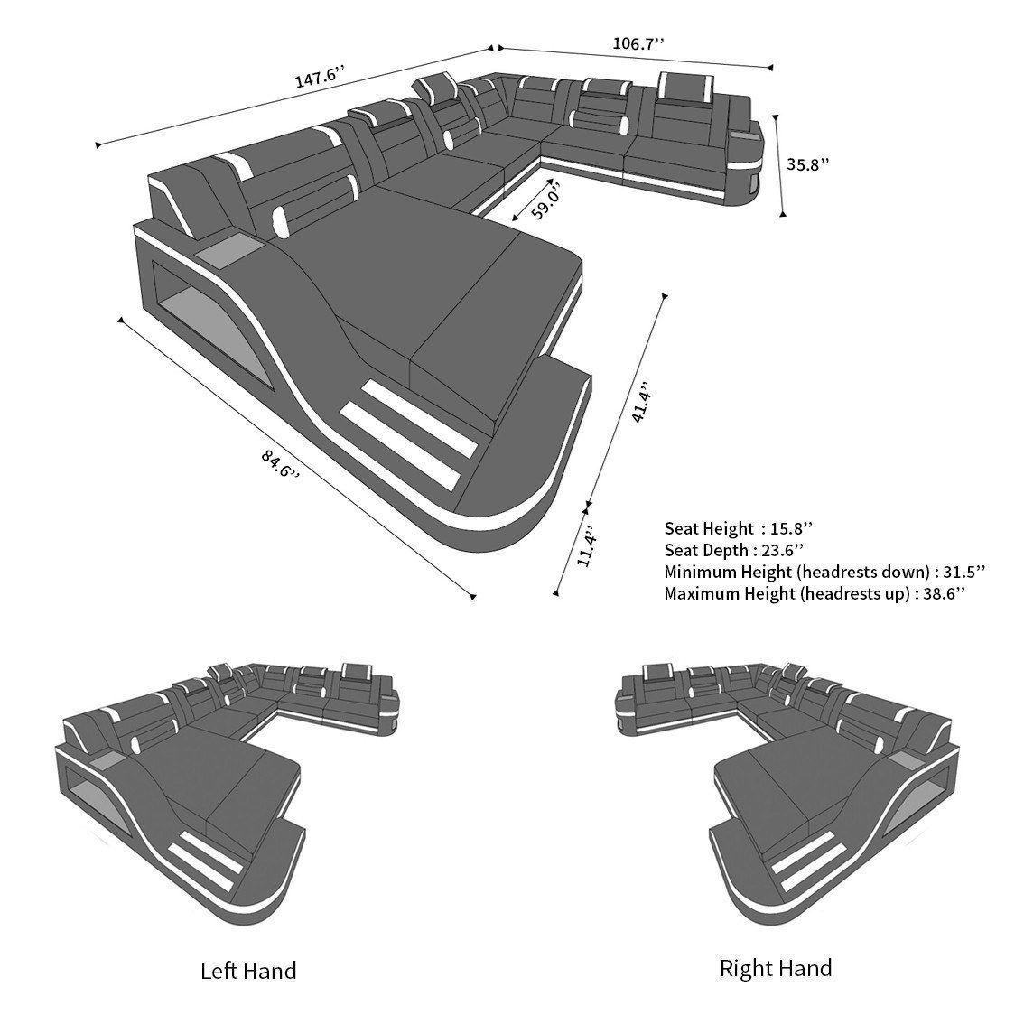 Design Sectional Sofa Detroit Led Xl Shape In 2020 Modern Fabric Sofa Sectional Sofa Fabric Sofa