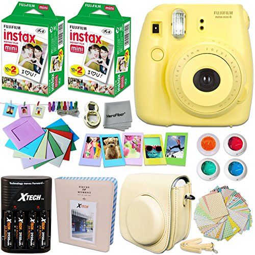 Fujifilm Instax Mini 8 Camera Yellow Accessories Kit For Fujifilm