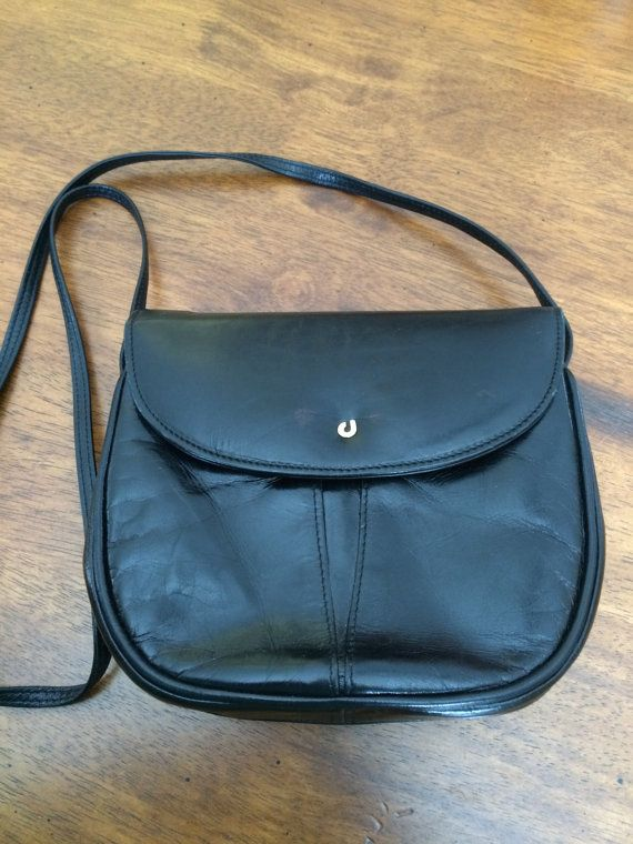 Vintage Charles Jourdan Elegant Black Leather Crossbody Handbag Leather Handbags Crossbody Cross Body Handbags Leather Crossbody