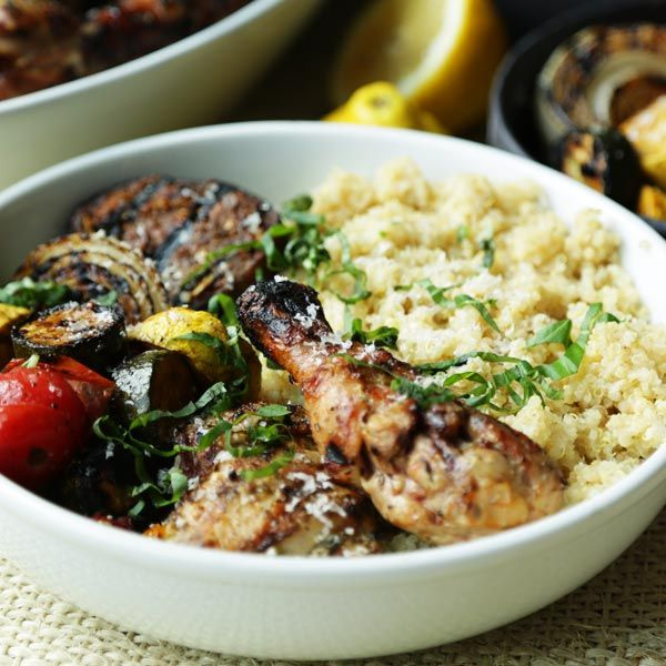 Try this tasty Grilled Chicken Recipe with Vegetables and Quinoa bowl that is loaded with flavor. Learn how to make a marinade for chicken and vegetables.