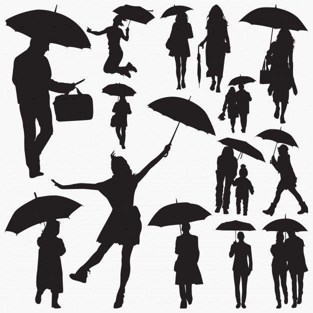 menschen mit regenschirmsilhouetten  scherenschnitt