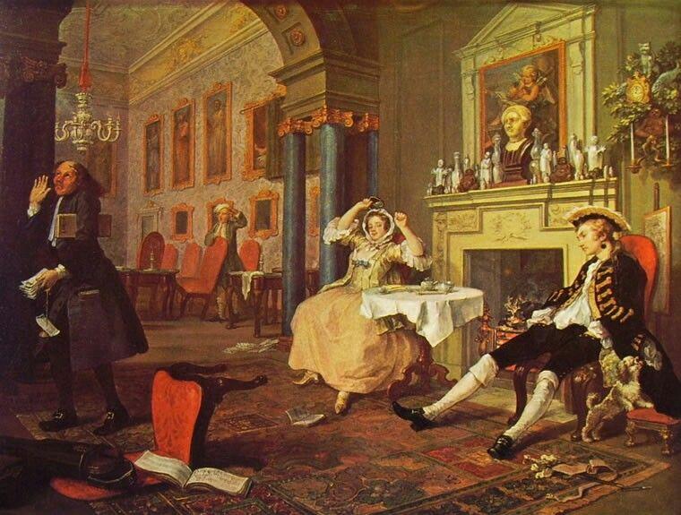 William Hogarth Il Matrimonio Alla Moda La Mattina Olio Su Tela
