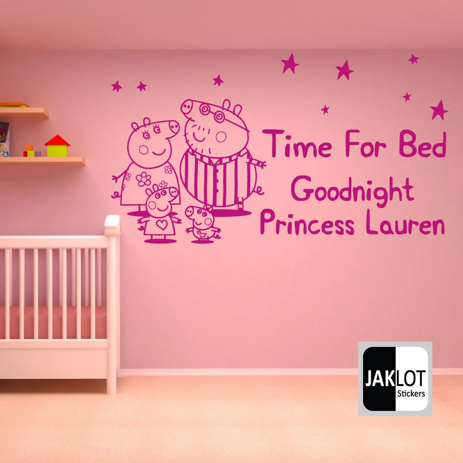 Peppa Pig Time For Bed Personalised X Large Vinyl Nursery Wall Sticker Bedroom Nursery Wall Stickers Wall Stickers Bedroom Wall Sticker