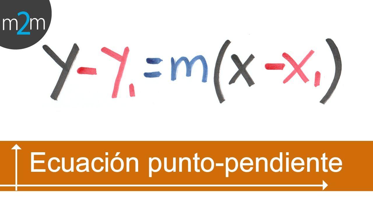 Ecuación punto - pendiente de la recta