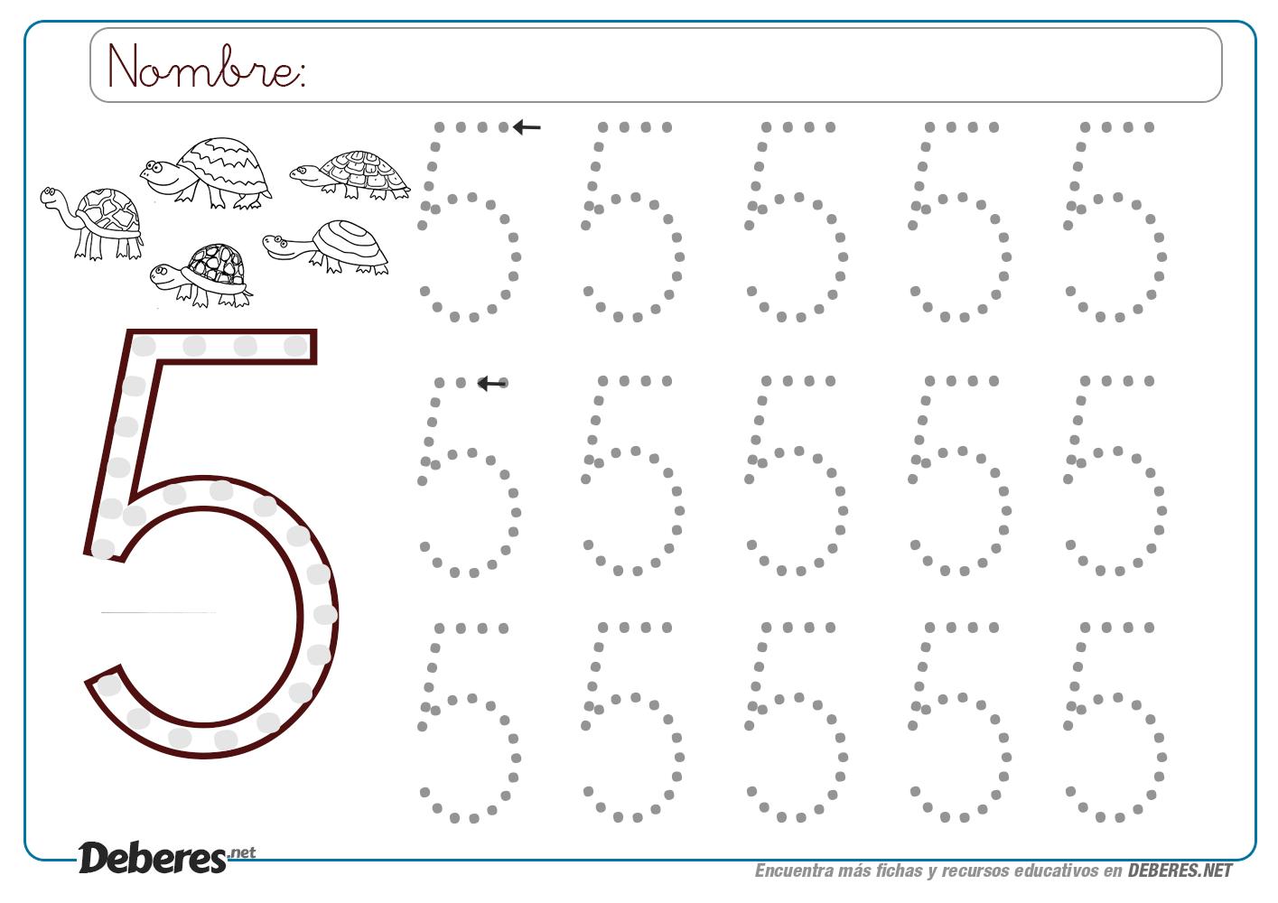 Ficha del número 5 con puntitos | Fichas, Libros de preescolar ...