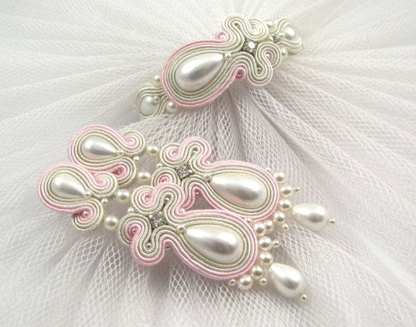 Powder pink and ivory white pearl earrings and bracelet. Wedding jewelry set. by…