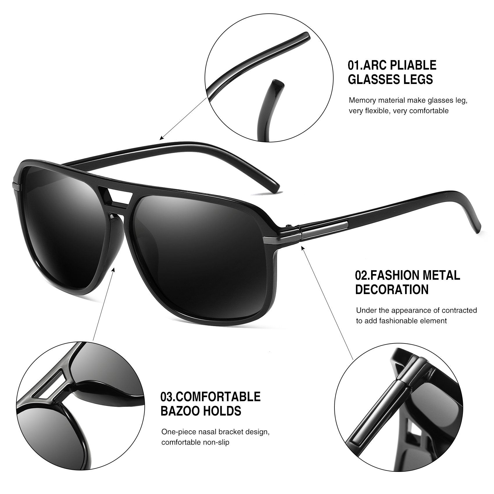 5215c995e8 Polarized Sunglasses for Men Aviator Driving Women Mens Sunglasses  Rectangular Vintage Sun Glasses Black    To view further for this item
