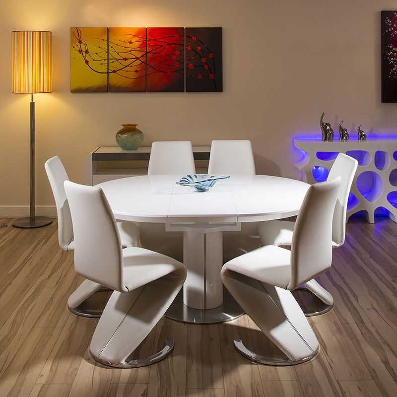 Modern Dining Set White Gloss Round Oval Extending Table 6 High Chairs