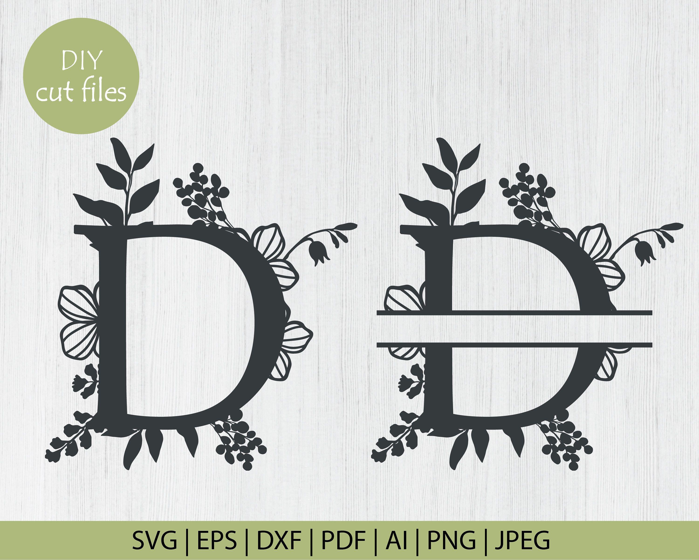 Botanical Floral Letter D Split Monogram Svg Split Monogram Etsy In 2021 Floral Monogram Letter Floral Letters Lettering
