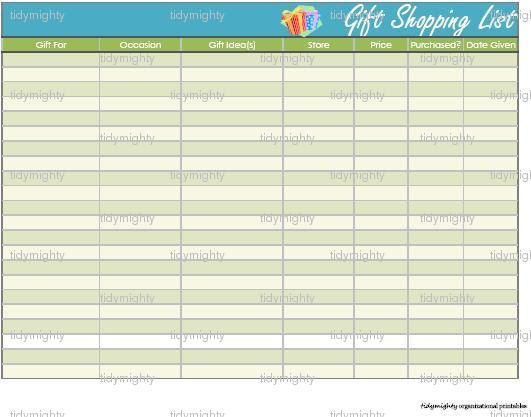 Gift Shopping List   Storage Organizing Pinterest Gift - grocery list organizer template
