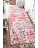 nuLOOM Vintage Floral Medallion Blush Runner Rug (2'6 x 8') (Blush), Blue, Size 2' x 8' (Polyester, Abstract)