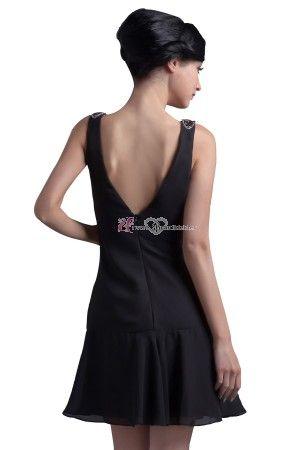 schlicht scoop kurz schwarz chiffon abendkleid abiballkleid  abendkleid kleider und chiffon