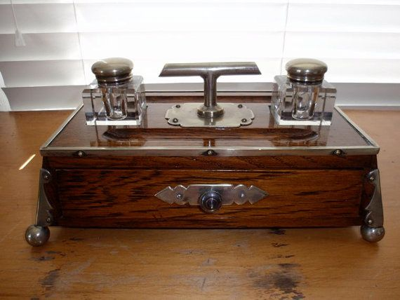 victorian era inkwell sets | Victorian English Ornate Oak Desk Set with  Beveled Glass Inkwells - Victorian English Ornate Oak Desk Set With Beveled Glass Inkwells